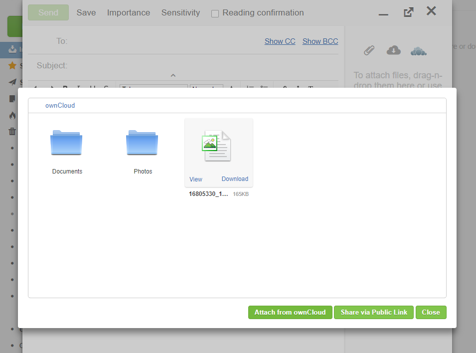 AfterLogic integration with ownCloud: attach from ownCloud