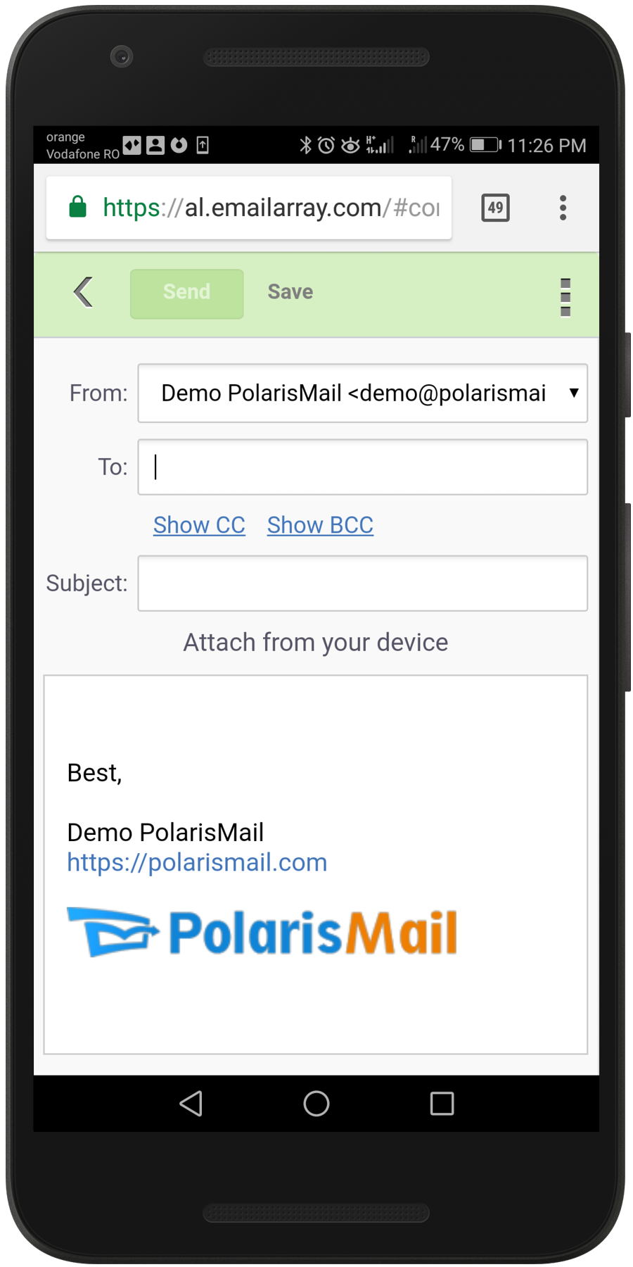 See how PolarisMail webmail Afterlogic looks on mobile