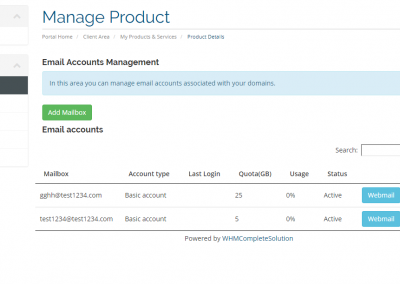 PolarisMail's WHMCS module lets resellers add, remove and suspend mailboxes as well as more advanced management for each account.