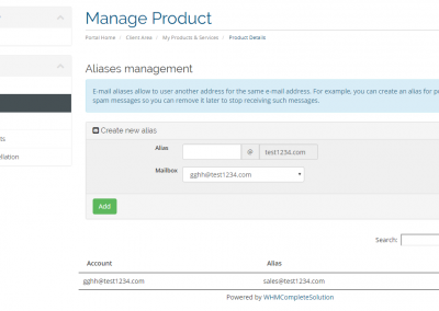 Manage aliases, forwards and distribution lists for your customers directly in our WHMCS module for email hosting resellers.