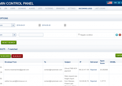 PolarisMail Admin Control Panel - manage your email accounts - connection logs page