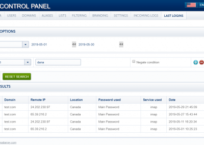 PolarisMail Admin Control Panel - manage your email accounts - last logins page