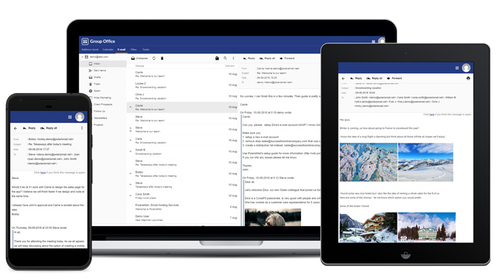 GroupOffice is a modern, responsive and easy to use Webmail where you can check all your PolarisMail mailboxes.