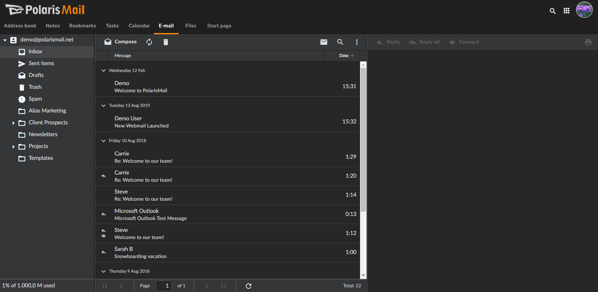 PolarisMail's webmail has a new look available: the dark theme