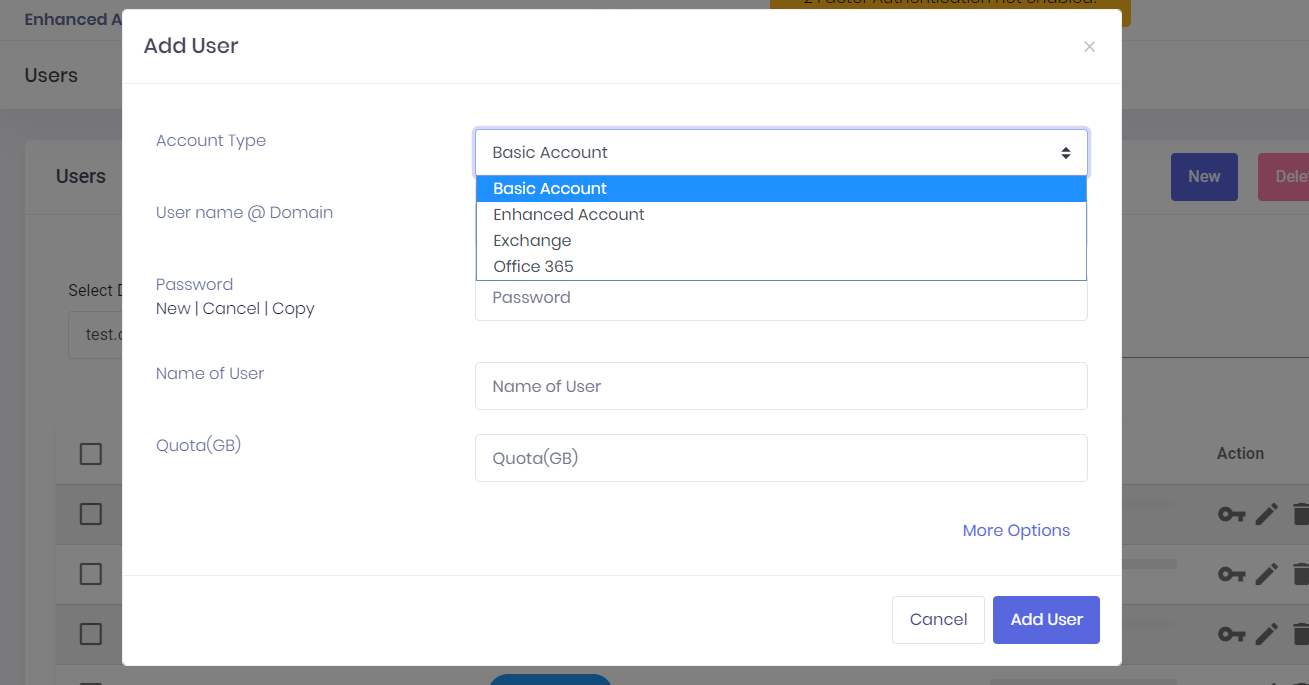 PolarisMail hybrid setup: How to add a new email account - choose from Basic, Enhanced, Exchange, or Office 635 email accounts