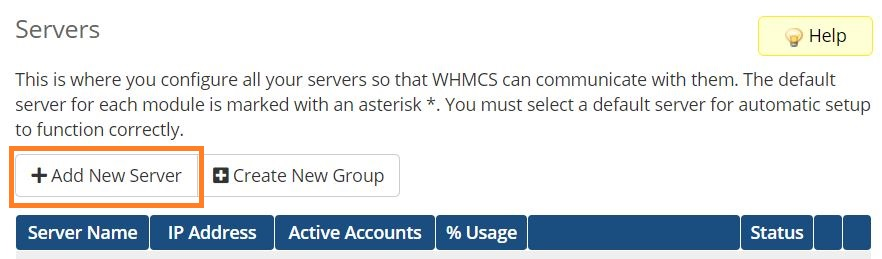 Setup WHMCS mdule for PolarisMail - how to add a new server