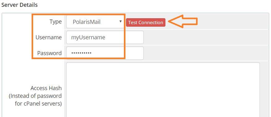 Setup WHMCS module for email hosting provisioning - server configuration - server details