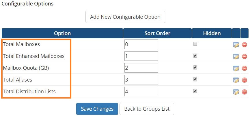 Setup WHMCS module for PolarisMail - configurable options to check