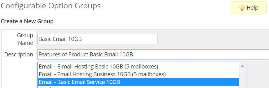 PolarisMail WHMCS module for email hosting provisioning - how to create a new configurable option group - first step