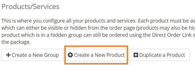 Setup WHMCS module for email provisioning - create a new product
