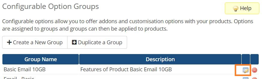 Setup PolarisMail WHMCS module for email hosting provisioning - how to edit a configurable option group