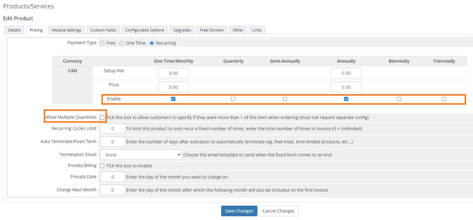 Create a new product for email hosting provisioning in WHMCS - set pricing step