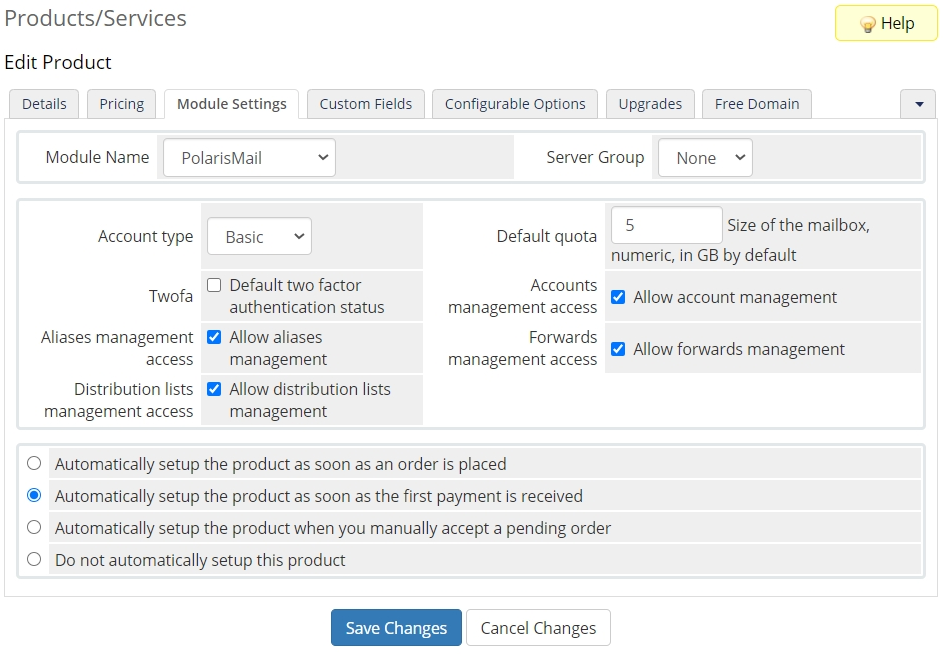 WHMCS Setup Example - variable email hosting product - module settings