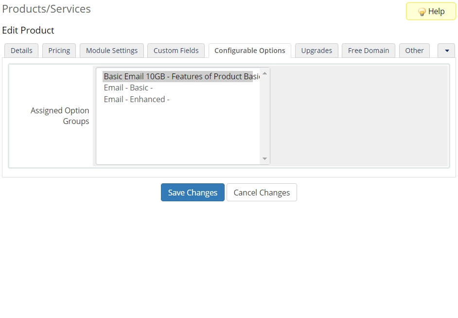 WHMCS Setup Example - variable email hosting product - set up configurable options