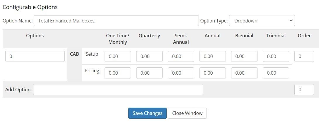 WHMCS Email Hosting - example setup of configurable options - Total Enhanced Mailboxes