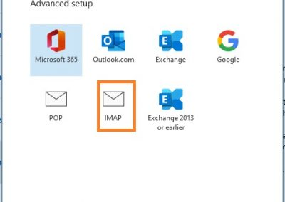 PolarisMail email setup example in Office 365 - Step 2 - select IMAP as account type