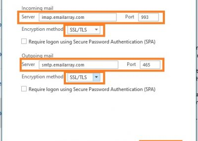 PolarisMail email setup example in Office 365 - Step 3 - fill in the account server settings