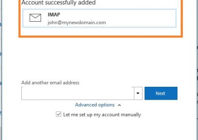 PolarisMail email setup example in Office 365 - Step 5 - setup completed
