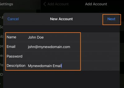 Apple Mail - Add Account - fill in your existing email address, password and name